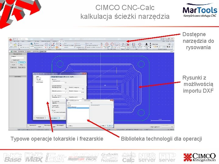 CIMCO CNC-Calc kalkulacja ścieżki narzędzia Dostępne narzędzia do rysowania Rysunki z możliwością importu DXF