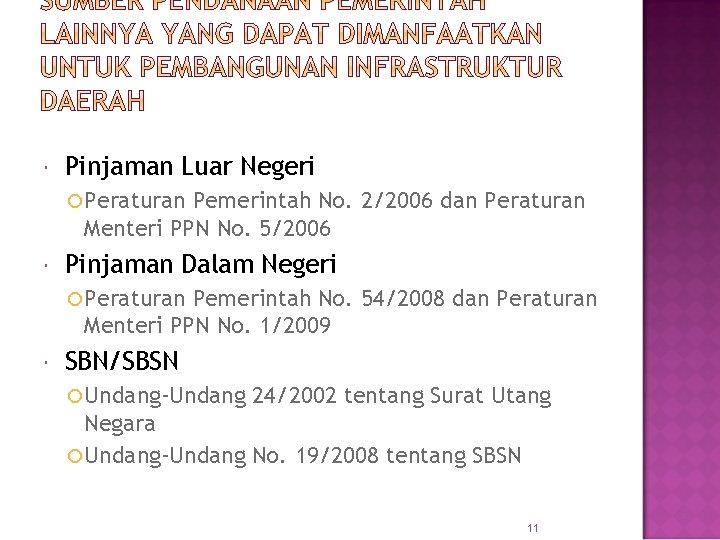 Pinjaman Luar Negeri Peraturan Pemerintah No. 2/2006 dan Peraturan Menteri PPN No. 5/2006