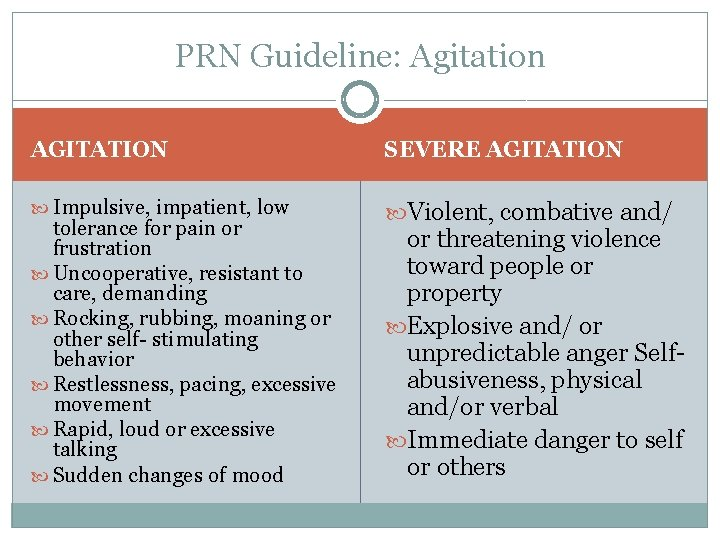 PRN Guideline: Agitation AGITATION SEVERE AGITATION Impulsive, impatient, low Violent, combative and/ tolerance for