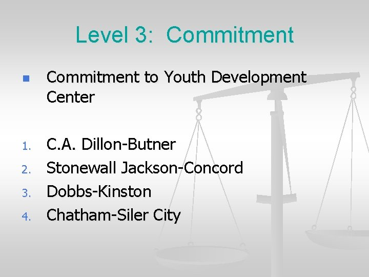 Level 3: Commitment n 1. 2. 3. 4. Commitment to Youth Development Center C.