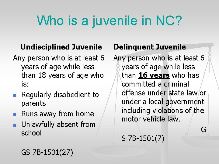 Who is a juvenile in NC? Undisciplined Juvenile Any person who is at least