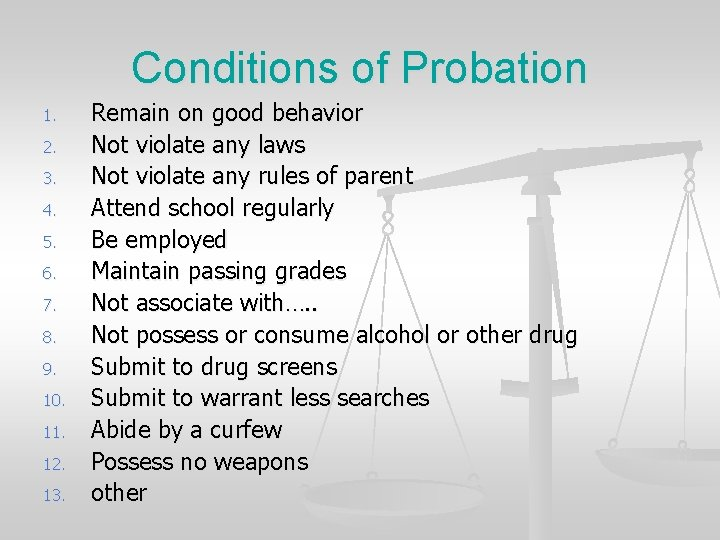 Conditions of Probation 1. 2. 3. 4. 5. 6. 7. 8. 9. 10. 11.