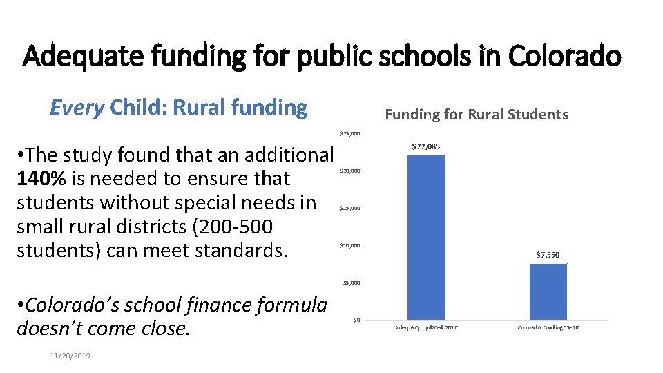 Adequate funding for public schools in Colorado Every Child: Rural funding Funding for Rural