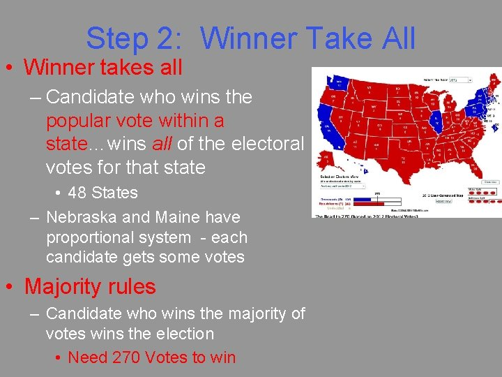 Step 2: Winner Take All • Winner takes all – Candidate who wins the