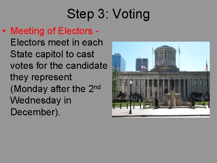Step 3: Voting • Meeting of Electors meet in each State capitol to cast