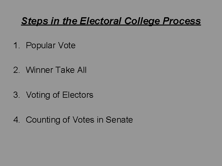 Steps in the Electoral College Process 1. Popular Vote 2. Winner Take All 3.