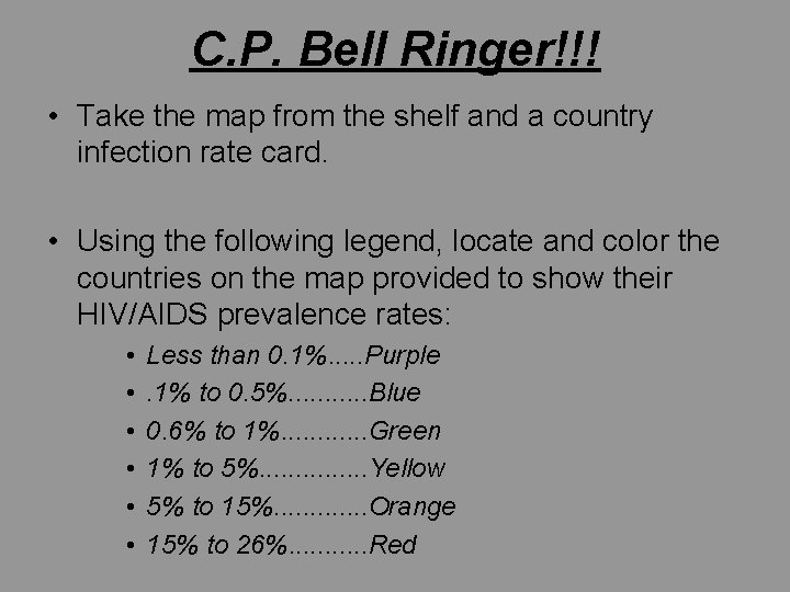 C. P. Bell Ringer!!! • Take the map from the shelf and a country