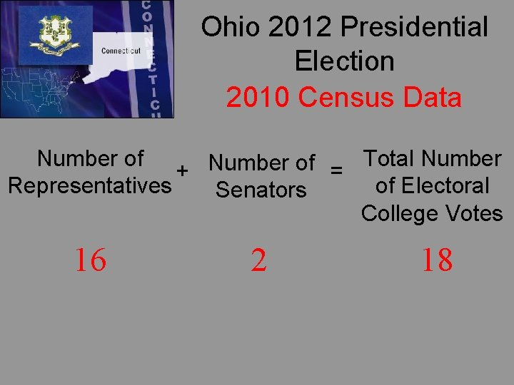 Ohio 2012 Presidential Election 2010 Census Data Number of Total Number of + =