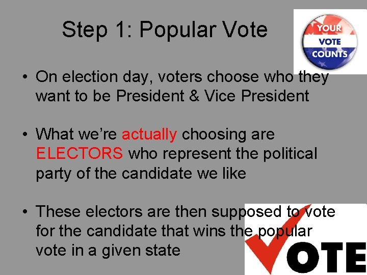 Step 1: Popular Vote • On election day, voters choose who they want to