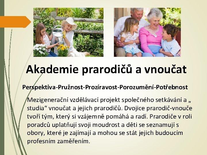 """Akademie prarodičů a vnoučat Perspektiva-Pružnost-Prozíravost-Porozumění-Potřebnost Mezigenerační vzdělávací projekt společného setkávání a """" studia"""" vnoučat"""