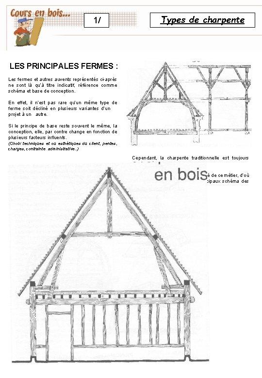 1/ Types de charpente LES PRINCIPALES FERMES : Les fermes et autres auvents représentés