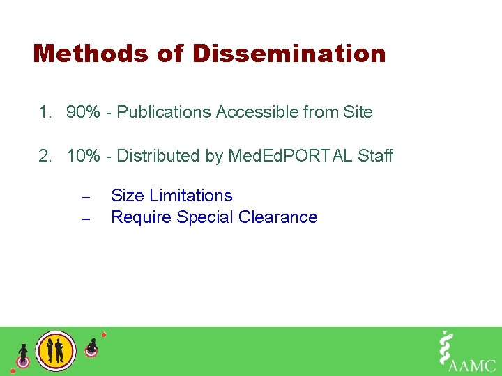 Methods of Dissemination 1. 90% - Publications Accessible from Site 2. 10% - Distributed