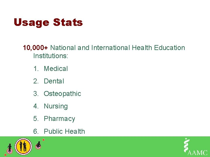 Usage Stats 10, 000+ National and International Health Education Institutions: 1. Medical 2. Dental