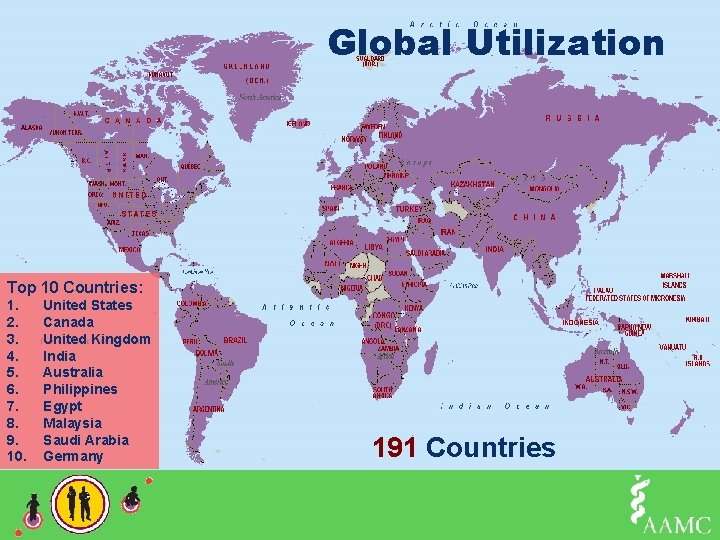 Global Utilization Add Chart title • Click to add bullet Top 10 Countries: 1.