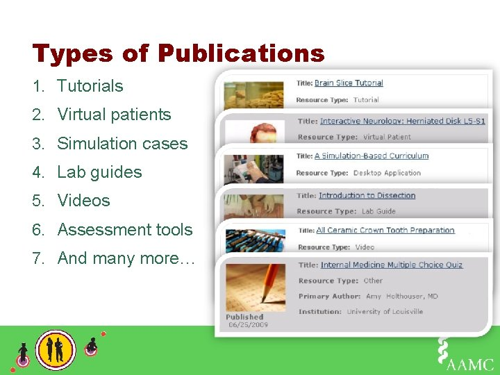 Types of Publications 1. Tutorials 2. Virtual patients 3. Simulation cases 4. Lab guides
