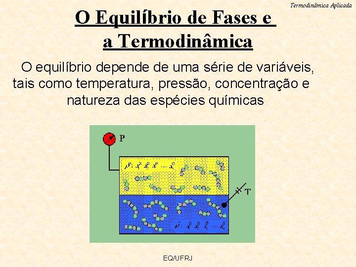 O Equilíbrio de Fases e a Termodinâmica Aplicada O equilíbrio depende de uma série