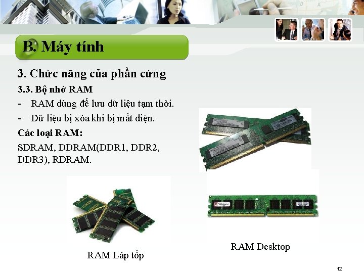 B. Máy tính 3. Chức năng của phần cứng 3. 3. Bộ nhớ RAM