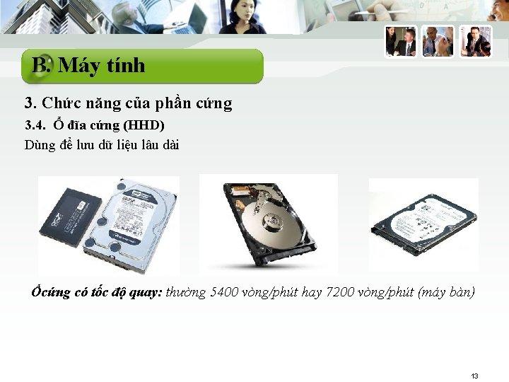 B. Máy tính 3. Chức năng của phần cứng 3. 4. Ổ đĩa cứng
