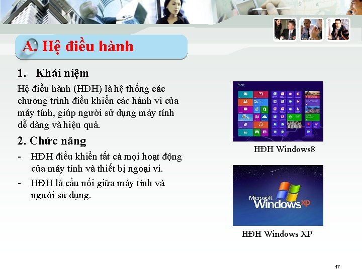 A. Hệ điều hành 1. Khái niệm Hệ điều hành (HĐH) là hệ thống
