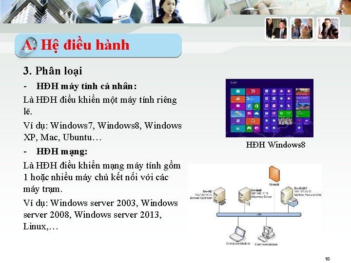 A. Hệ điều hành 3. Phân loại - HĐH máy tính cá nhân: Là