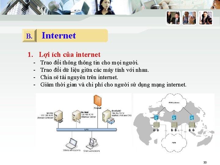 Internet B. 1. Lợi ích của internet - Trao đổi thông tin cho mọi