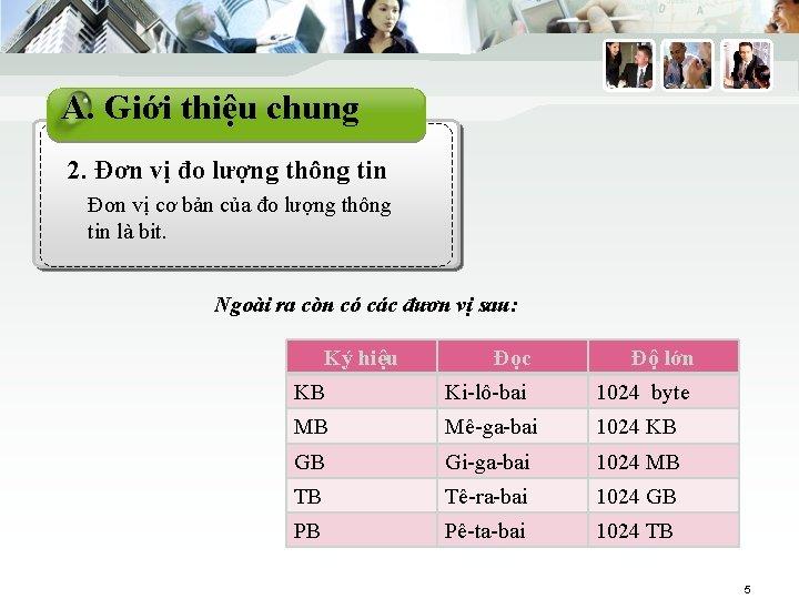 THÔNG TIN KINH TẾ A. Giới thiệu chung 2. Đơn vị đo lượng thông