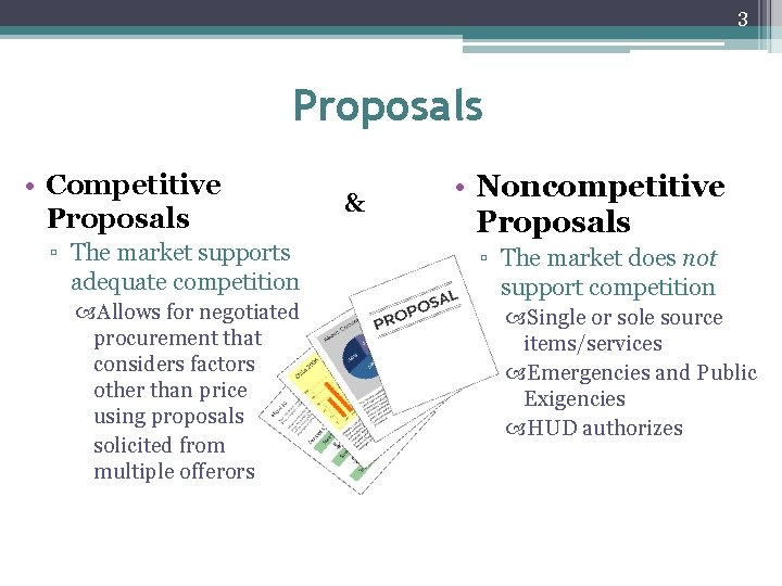 3 Proposals • Competitive Proposals ▫ The market supports adequate competition Allows for negotiated