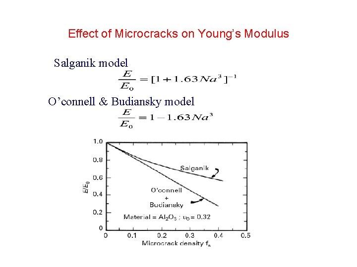 Effect of Microcracks on Young's Modulus Salganik model O'connell & Budiansky model