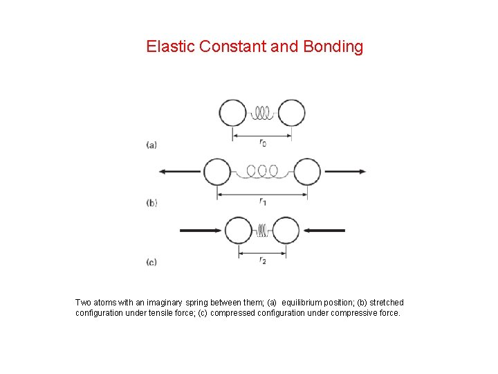 Elastic Constant and Bonding Two atoms with an imaginary spring between them; (a) equilibrium