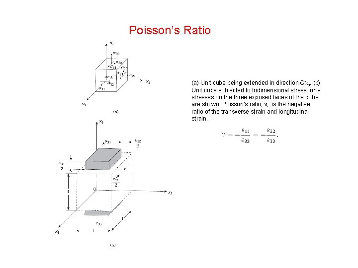 Poisson's Ratio (a) Unit cube being extended in direction Ox 3. (b) Unit cube
