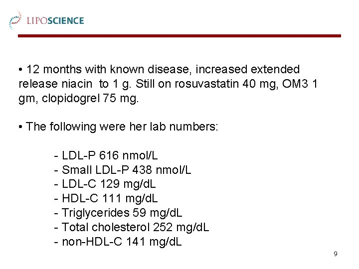 • 12 months with known disease, increased extended release niacin to 1 g.