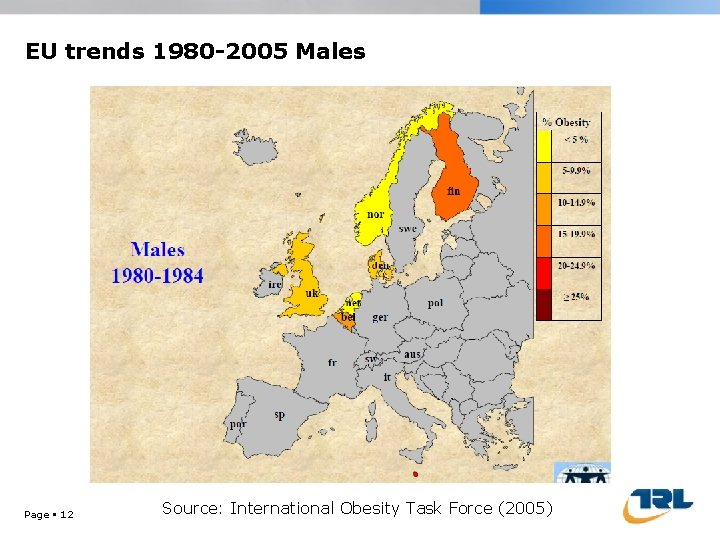 EU trends 1980 -2005 Males Page 12 Source: International Obesity Task Force (2005)