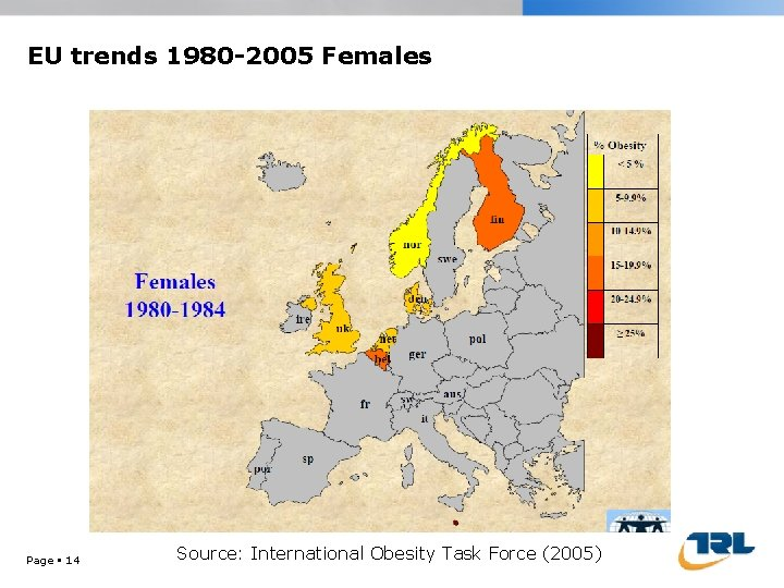EU trends 1980 -2005 Females Page 14 Source: International Obesity Task Force (2005)