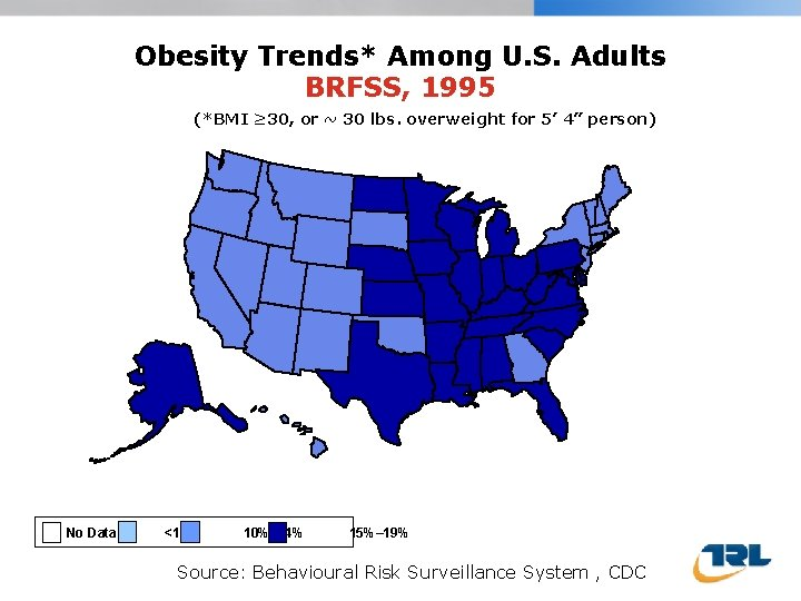 Obesity Trends* Among U. S. Adults BRFSS, 1995 (*BMI ≥ 30, or ~ 30