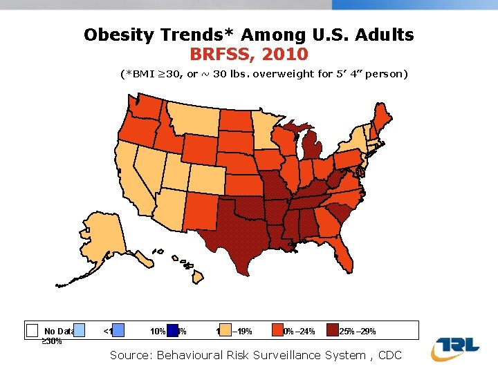 Obesity Trends* Among U. S. Adults BRFSS, 2010 (*BMI ≥ 30, or ~ 30