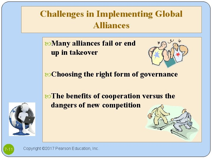 Challenges in Implementing Global Alliances Many alliances fail or end up in takeover Choosing