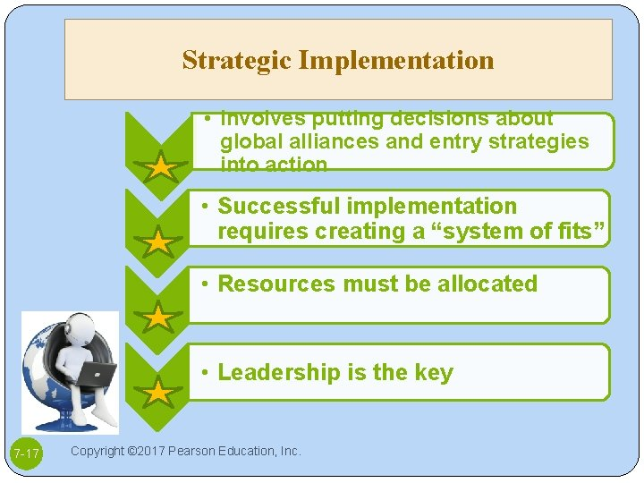 Strategic Implementation • Involves putting decisions about global alliances and entry strategies into action