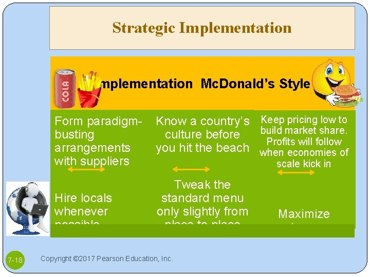 Strategic Implementation Mc. Donald's Style Form paradigmbusting arrangements with suppliers Hire locals whenever possible