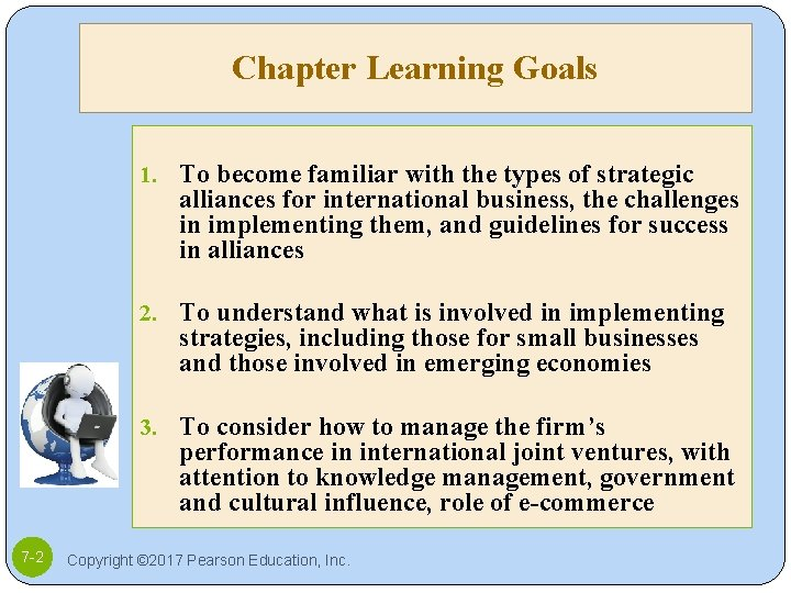 Chapter Learning Goals 1. To become familiar with the types of strategic alliances for
