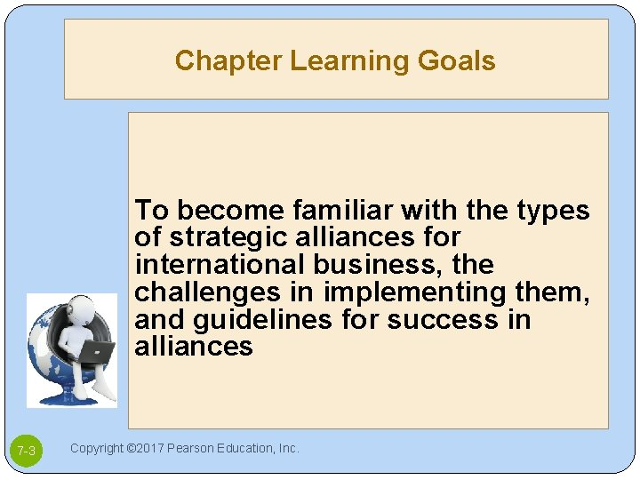 Chapter Learning Goals To become familiar with the types of strategic alliances for international