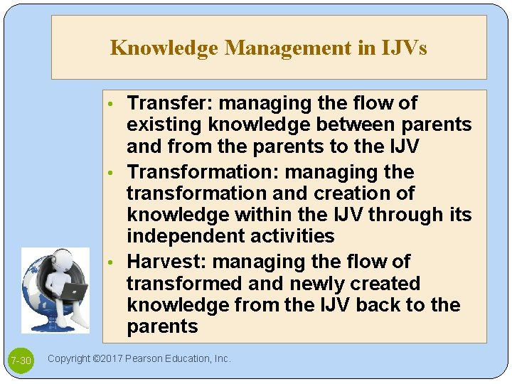 Knowledge Management in IJVs • Transfer: managing the flow of existing knowledge between parents