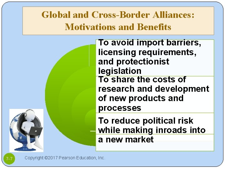 Global and Cross-Border Alliances: Motivations and Benefits To avoid import barriers, licensing requirements, and