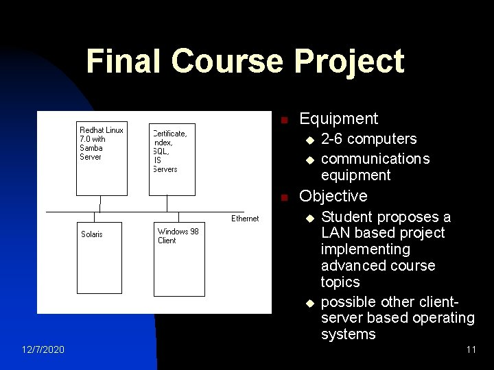 Final Course Project n Equipment u u n Objective u u 12/7/2020 2 -6
