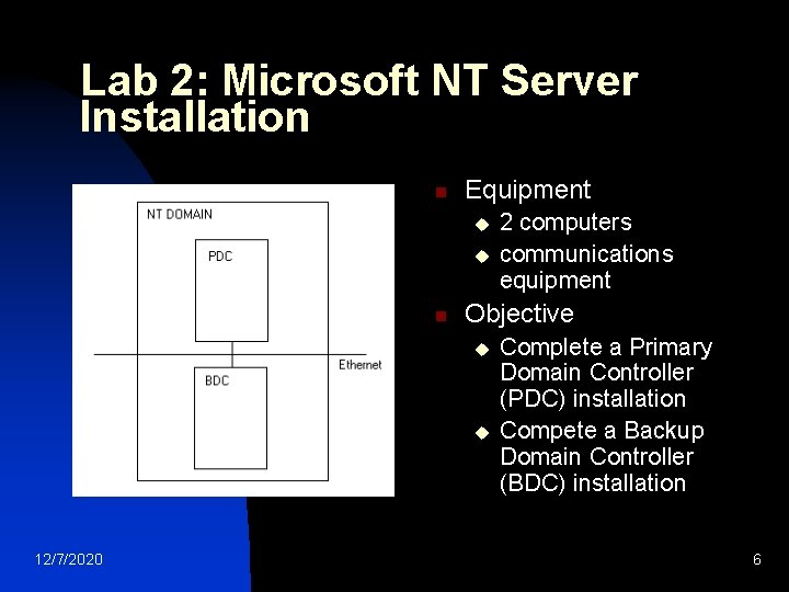 Lab 2: Microsoft NT Server Installation n Equipment u u n Objective u u