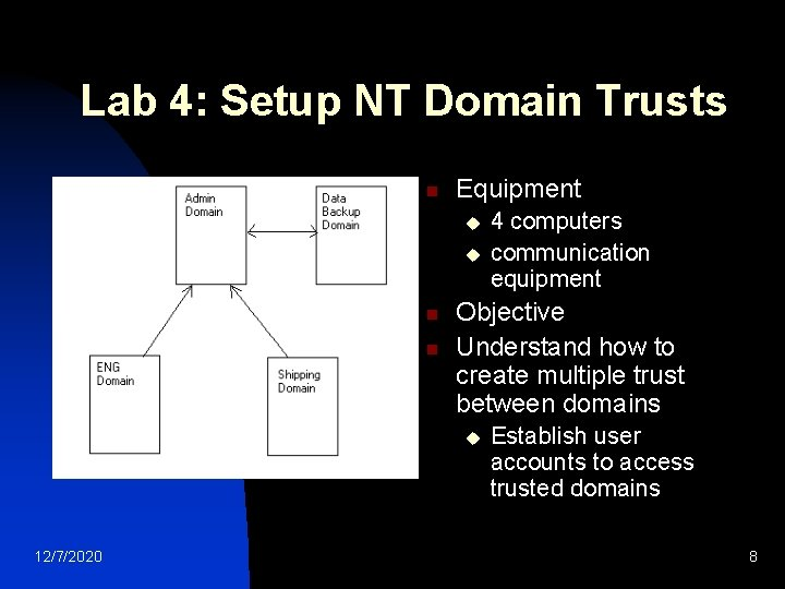 Lab 4: Setup NT Domain Trusts n Equipment u u n n Objective Understand