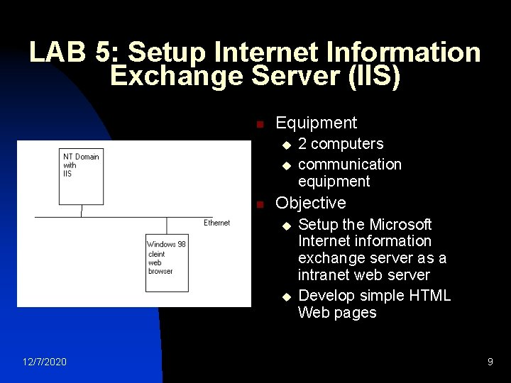LAB 5: Setup Internet Information Exchange Server (IIS) n Equipment u u n Objective