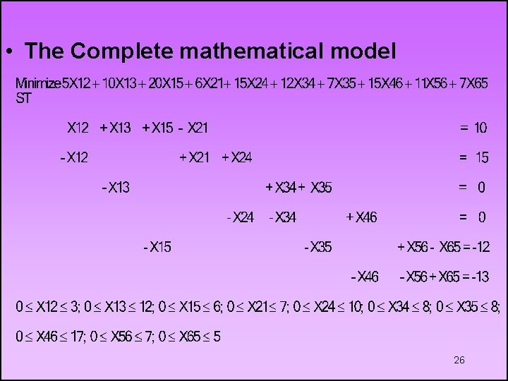 • The Complete mathematical model 26