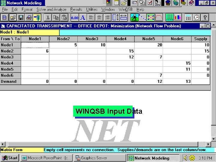 WINQSB Input Data 27
