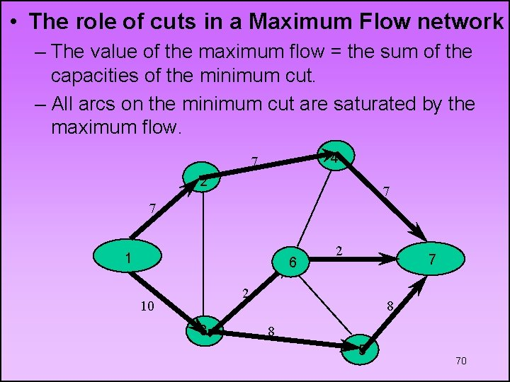 • The role of cuts in a Maximum Flow network – The value