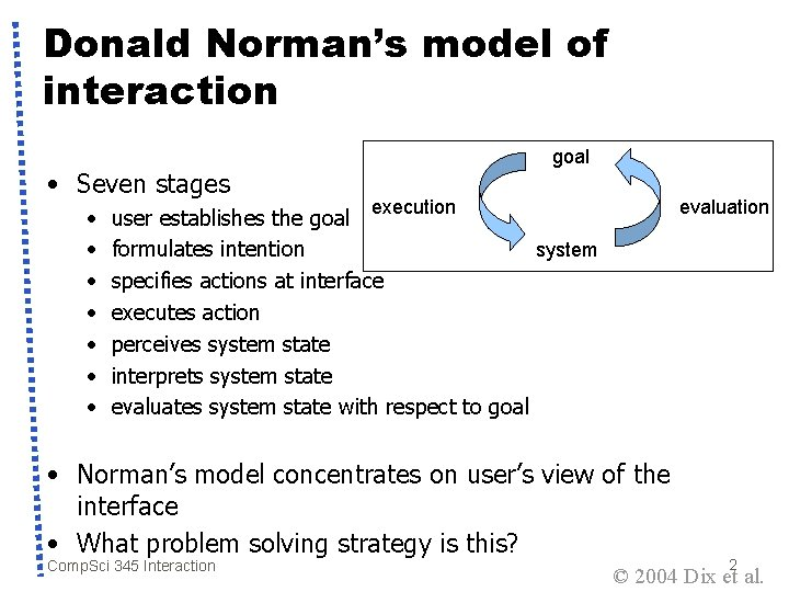 Donald Norman's model of interaction • Seven stages • • goal execution evaluation user